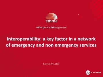 A Key Factor in a Network of Emergency and Non ... - Beta 80 Group