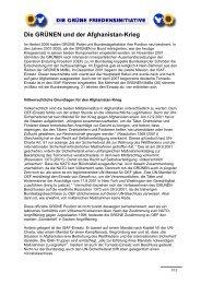 Die GRÜNEN und der Afghanistan-Krieg - Grüne Friedensinitiative