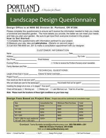 garden design questionnaires for clients questionnaire free - Garden Design Questionnaire