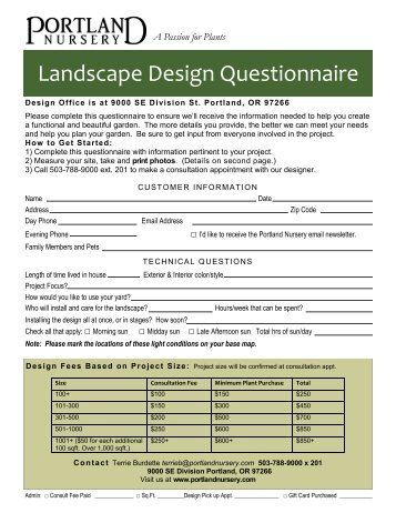 Goal the goal of this pro for Garden design questionnaire