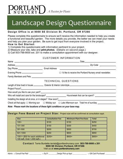 Landscape Design Questionnaire Portland Nursery