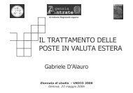 IL TRATTAMENTO DELLE POSTE IN VALUTA ESTERA - Liguria
