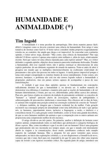 HUMANIDADE E ANIMALIDADE (*) - Biolinguagem