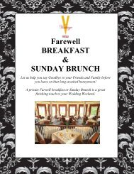 Wedding Package Farewell Breakfast and Sunday ... - Vintage Hotels