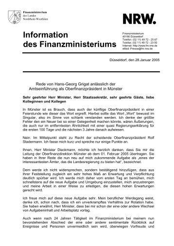 Information des Finanzministeriums - Finanzministerium NRW