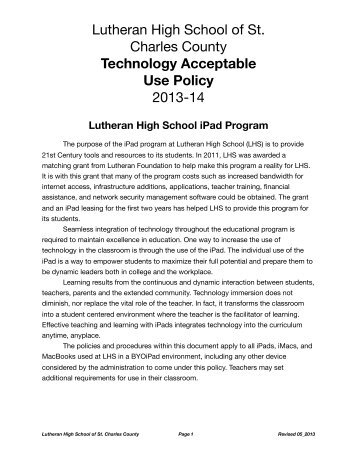 Technology Acceptable Use Policy - Lutheran High School of St ...
