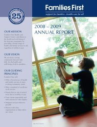 2009 AnnUAL RePORT - Families First Health and Support Center