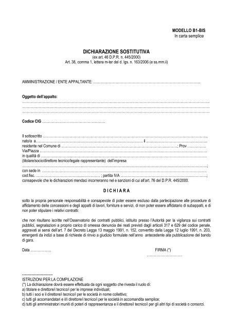 Dichiarazione Sostitutiva Comune Di Benevento