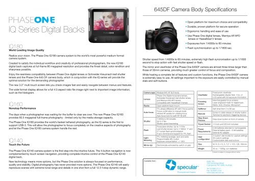 Phase One IQ series with 645DF camera - Specular