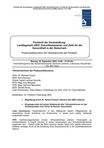 Zukunftsszenarien und Ziele für die Gesundheit in ... - SMZ Liebenau