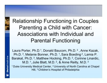 Relationship Functioning in Couples Parenting a Child with Cancer