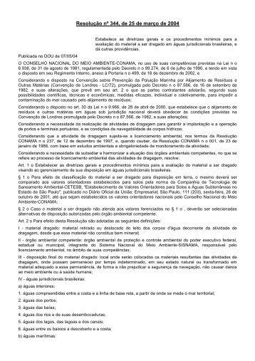 Resolução CONAMA nº 344/04 - Ecotox Análise e Consultoria ...