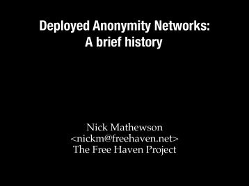 Deployed Anonymity Networks - The Free Haven Project
