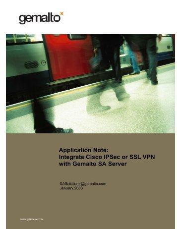 Integrate Cisco IPSec or SSL VPN with Gemalto SA Server
