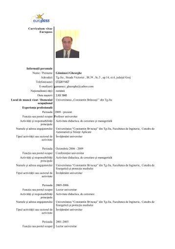 Curriculum vitae Europass Informaţii personale Nume / Prenume ...