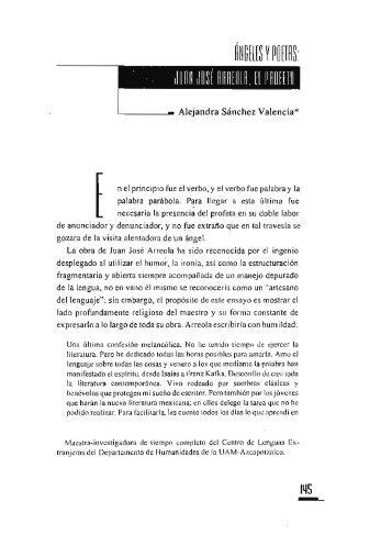 Juan José Arreola, el profeta / Alejandra Sánchez Valencia - UAM