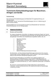 Technische Einkaufsbedingungen für Maschinen, Anlagen und Geräte