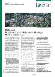 Biochemie und Molekulare Biologie - BZMB - Universität Bayreuth