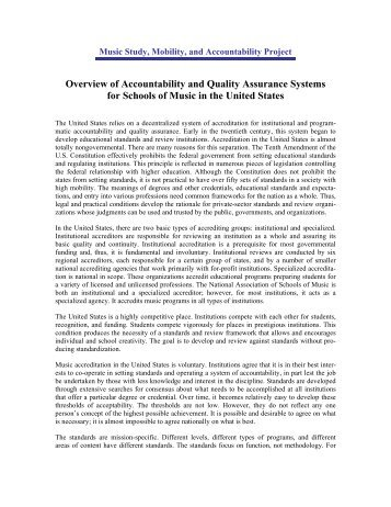 Overview of Accountability and Quality Assurance Systems for ...
