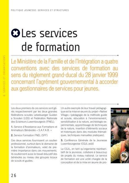 Politique Jeunesse: services et structures