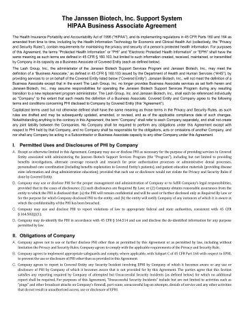 Sample Qualified Service Organizationbusiness Associate Agreement