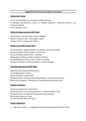 Suggestions de lectures pour préparer la quatrième Théâtre (XVIIe ...