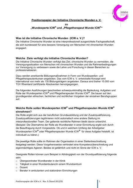 Positionspapier Der Initiative Chronische Wunden E V
