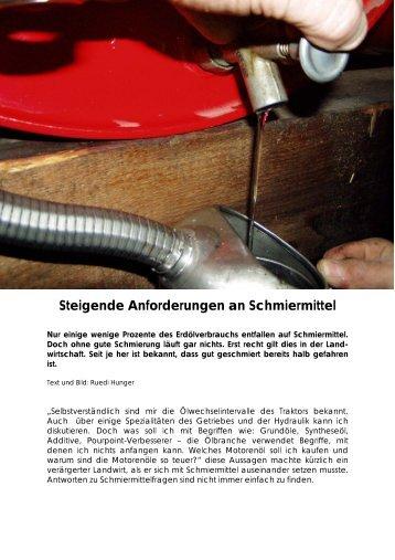 Steigende Anforderungen an Schmiermittel - Plantahof