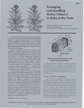 Packaging and Handling Burley Tobacco - University of Kentucky