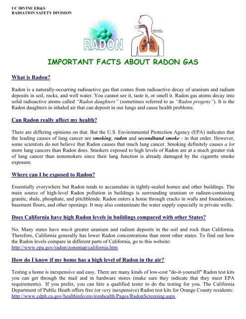 important facts about radon gas - UCI Environmental Health & Safety