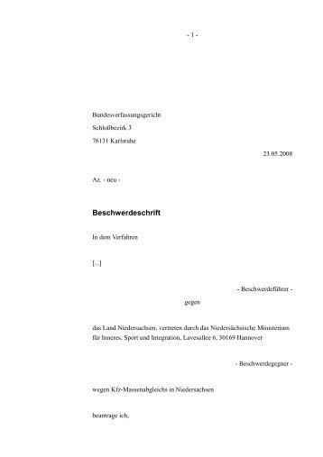 Beschwerdeschrift vom 26.05.2008 - Daten-Speicherung.de ...