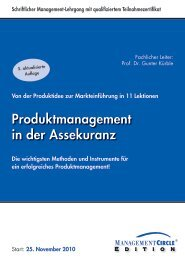 Produktmanagement in der Assekuranz - Management Circle AG