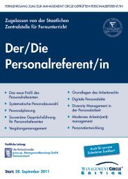 Der/Die Personalreferent/in - Management Circle AG