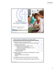 ICD-10 Roadmap to a Successful Transition About Seton Healthcare ...
