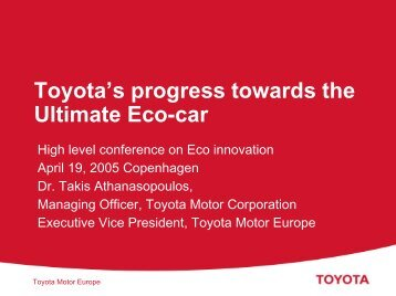 Dr. Takis Athanasopoulos, Managing Officer, Toyota Motor ...