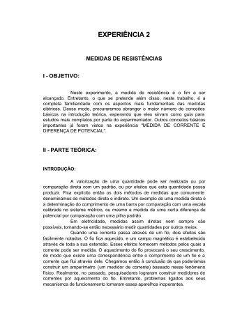 Experimento 2 - Instituto de Física da UFBA