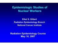 Slides - Radiation Epidemiology Course - National Cancer Institute