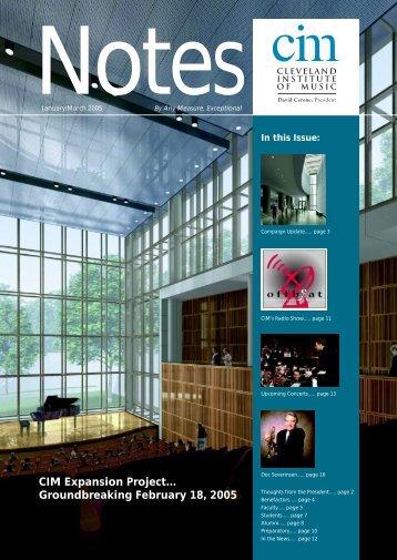 First Quarter 2005 - Cleveland Institute of Music
