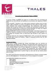 Convention de partenariat Thales et ENSEA Le groupe Thales et l ...