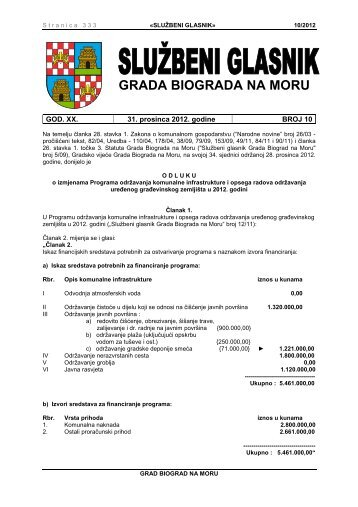 Službeni glasnik Grada Biograda na Moru - broj 10/12