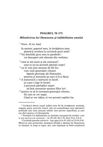 PSALMUL 78 (77) Milostivirea lui Dumnezeu ºi infidelitatea omului 1 ...