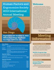 Registration Information brochure - Human Factors and Ergonomics ...