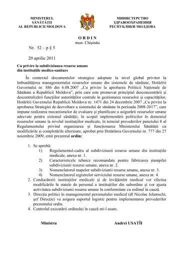 Ordin nr. 52 – p § 5 20 aprilie 2011 Cu privire la subdiviziunea ...