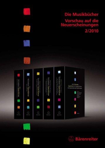 Bärenreiter Die Musikbücher Vorschau auf die Neuerscheinungen 2 ...
