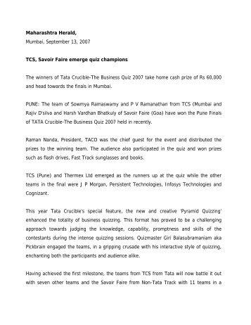 TCS, Savoir Faire emerge quiz champions (pdf) - Tata Crucible