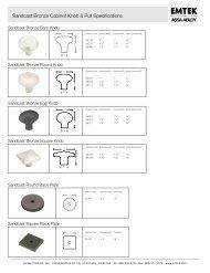 Sandcast Bronze Cabinet Knob & Pull Specifications - Emtek