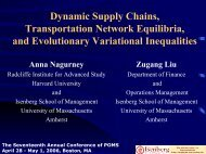 Dynamic Supply Chains, Transportation Network Equilibria, and ...