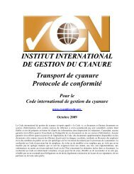 Protocole du transport - International Cyanide Management Code