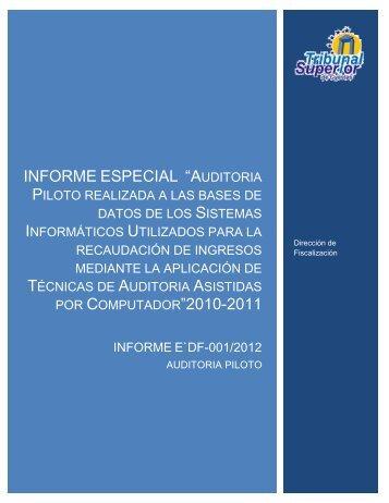 Auditoría piloto 01-2012-E-DF(TAAC'S) - Tribunal Superior de ...