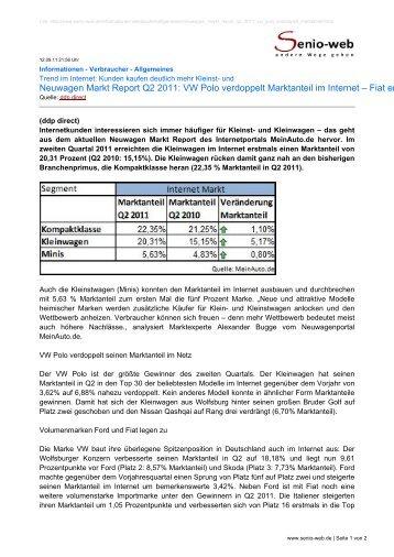 Neuwagen Markt Report Q2 2011: VW Polo verdoppelt ... - Senio-Web